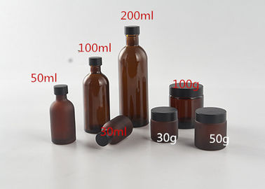 China Brown Cosmetic Bottles Amber Glass Cosmetic Series With Plastic Aluminium Cap supplier