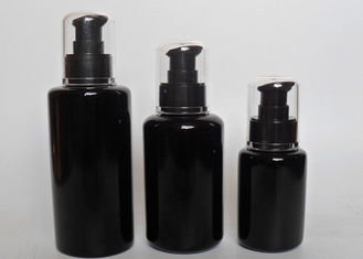 China Unique Refillable Frosted Glass Black Cosmetic Jars With Black Lid Pump supplier