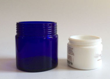 China Screw Cap Personal Care Blue Glass Cosmetic Jars , 4 Oz 2 Oz Makeup Jars supplier