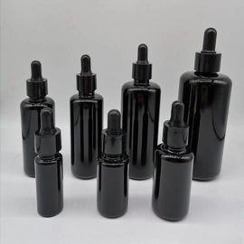 10ml 15ml 30ml 50ml 100ml 200ml Black round shoulder essential oil  empty cosmetic glass bottles with bamboo dropper