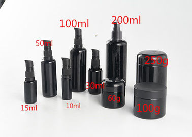 China 30ml 50ml 100ml Black Glass Cosmetic Containers , Airless Cosmetic Bottles factory