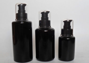 Good Quality Empty Cosmetic Bottles & Unique Refillable Frosted Glass Black Cosmetic Jars With Black Lid Pump on sale