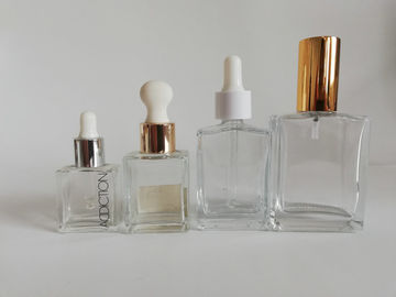China Luxury Square Cosmetic Bottles , Durable Frosted Glass Cosmetic Bottles distributor