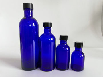 China Blue Glass Makeup Bottles , Foundation Empty Cosmetic Packaging Bottles distributor